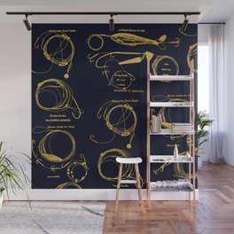 Maritime pattern- Gold fishing gear on darkblue background Wall Mural