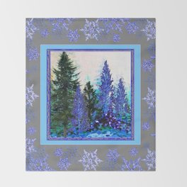 GREY WINTER SNOWFLAKE  CRYSTALS FOREST ART Throw Blanket