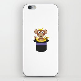 sweet monkey with bananas in hat iPhone Skin