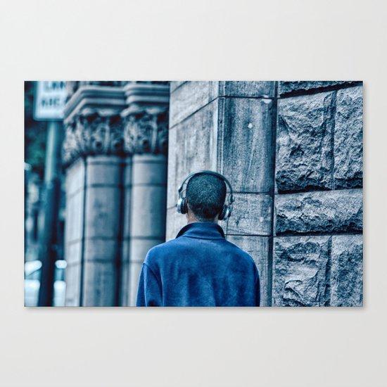 Man headset blue Canvas Print