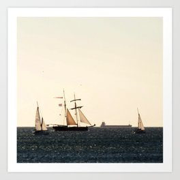 Sailboats in a windy day Art Print