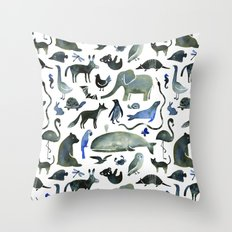 Animals in Black (and blue) Throw Pillow