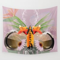 sunglasses Wall Tapestries featuring Surfing, sunglasses with surfboard  by nicky2342