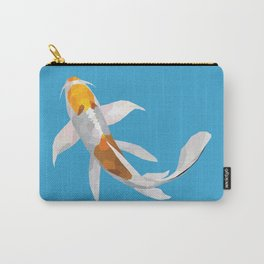 Geo Koi White & Golden Carry-All Pouch