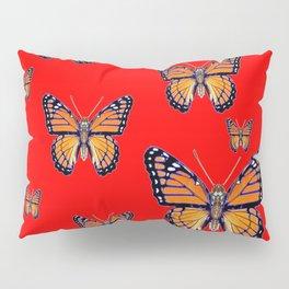 RED ART MONARCH BUTTERFLIES Pillow Sham