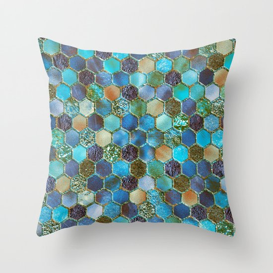 Blue Geometric Throw Pillows : Blue & green metal glitter geometric hexagonal honeycomb pattern Throw Pillow by Better HOME ...
