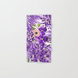 Lilac violet lavender lime green floral illustration Hand & Bath Towel