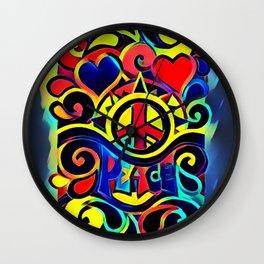 Peace and Love Hippy Art Wall Clock