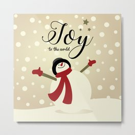 Snowman's Joy To The World Metal Print