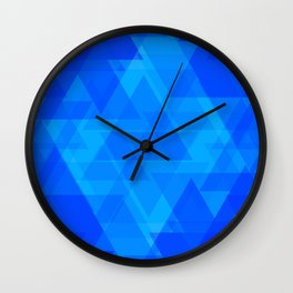 Bright blue and celestial triangles in the intersection and overlay. Wall Clock