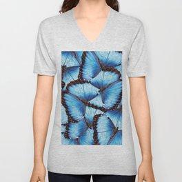 Blue Morpho Butterfly Unisex V-Neck