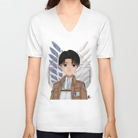 levi V-neck T-shirts featuring Levi Rivaille by Larkee Beatz