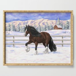 Beautiful Brown & White Bay Gypsy Vanner Draft Horse In Snow Serving Tray