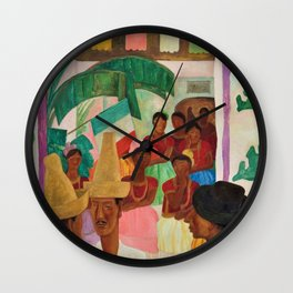 The Rivals of Chapingo by Diego Rivera Wall Clock