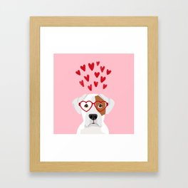 Boxer heart glasses hearts valentines day cute dog gifts rescue dog pure breed boxers Framed Art Print