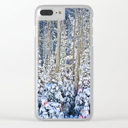 Snow Covered Trees Clear iPhone Case