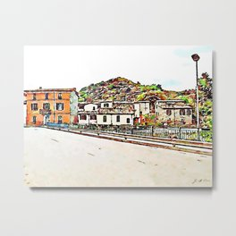 Fognano: buildings and road Metal Print