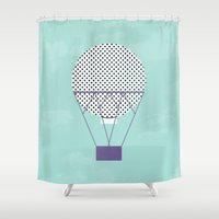 hot air balloon Shower Curtains featuring PURPLE HOT AIR BALLOON by Allyson Johnson
