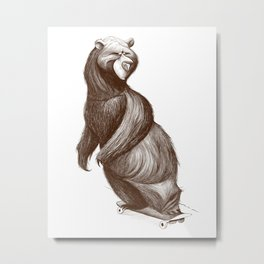 Skatepark Bear Metal Print