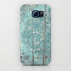 Teal & Aqua Botanical Doodle on Weathered Wood Slim Case Galaxy S6