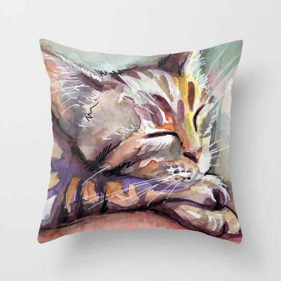 Sleeping Kitten Watercolor Cat Whimsical Cats Throw Pillow