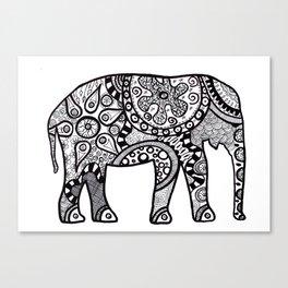 Black and white elephant Canvas Print