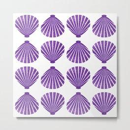Purple Glitter Shells Metal Print