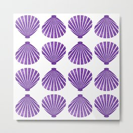 Purple Glitter Shells Metal Print