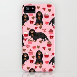 Cavalier King Charles Spaniel black and tan valentines day love cupcakes dog breed patterns gifts iPhone Case