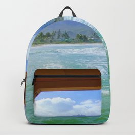 ocean view with mountain and blue cloudy sky background at Kauai, Hawaii, USA Backpack