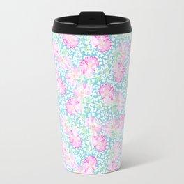 Lipstick Pink Roses and Butterflies Travel Mug