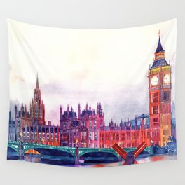 Sunset in London Wall Tapestry
