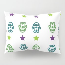 Astronauts and Stars in Dark Colors Pillow Sham
