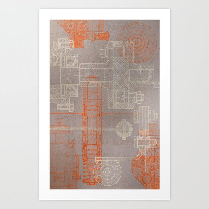 steampunk engineering schematic art print by imtektek society6 rh society6 com