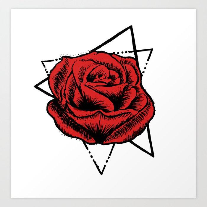 Geometric Rose Tattoo Art Print