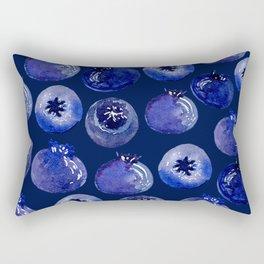 Blueberries On Navy Blue - Watercolor Fruit Print Rectangular Pillow
