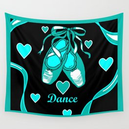 Love to Dance Teal Ballet Shoes Wall Tapestry