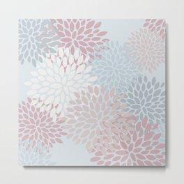Festive, Floral Pattern, Blue, Teal and Pink Metal Print