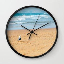 The Seagull And The Sea, Ocean Beach, Alone On Beach, Funny Bird, Wall Art Print, Poster Decor Wall Clock