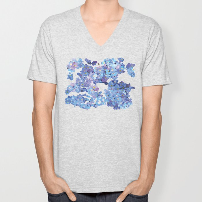 Periwinkle Flowers-Floral Design-Style 3-by Hxlxynxchxle Unisex V-Neck