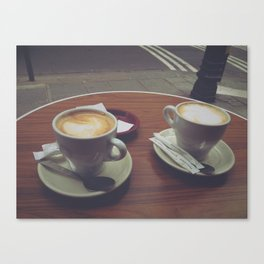 Parisian Coffee Date, Lattes for Two Canvas Print