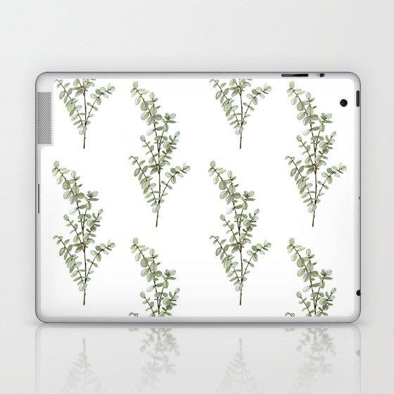 Baby Blue Eucalyptus Watercolor Painting Laptop & iPad Skin
