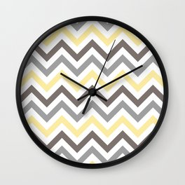 Yellow, Grey and Dark Taupe Chevron Pattern 5 Wall Clock