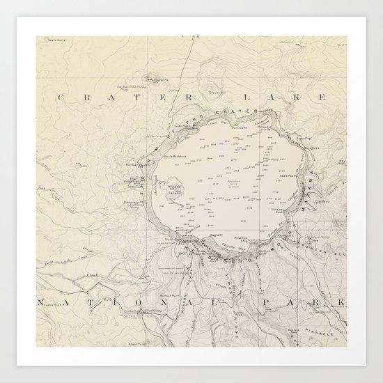 Crater Lake Vintage Map Art Print
