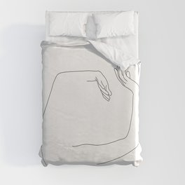 Arms up line drawing - Maude Duvet Cover