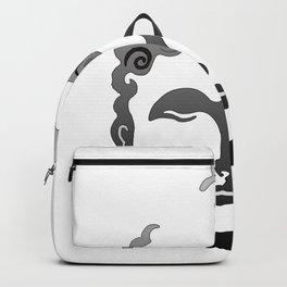 Buddha Head grey black white background Backpack