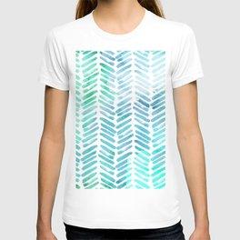 Handpainted Chevron pattern - light green and aqua - stripes T-shirt