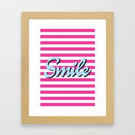 Smile, pink stripes, motivational poster, typography poster Framed Art Print