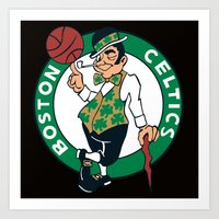 nba Art Prints featuring NBA - Celtics by Katieb1013