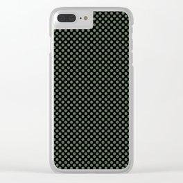 Black and Vineyard Green Polka Dots Clear iPhone Case